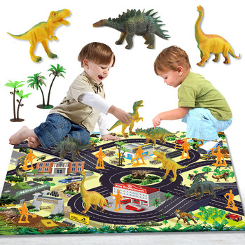 Dinosaur Toys Figure / Activity Play Mat, Educational Realistic Dinosaur Playset Children Doll Toys For Kids Girl Boy Gift