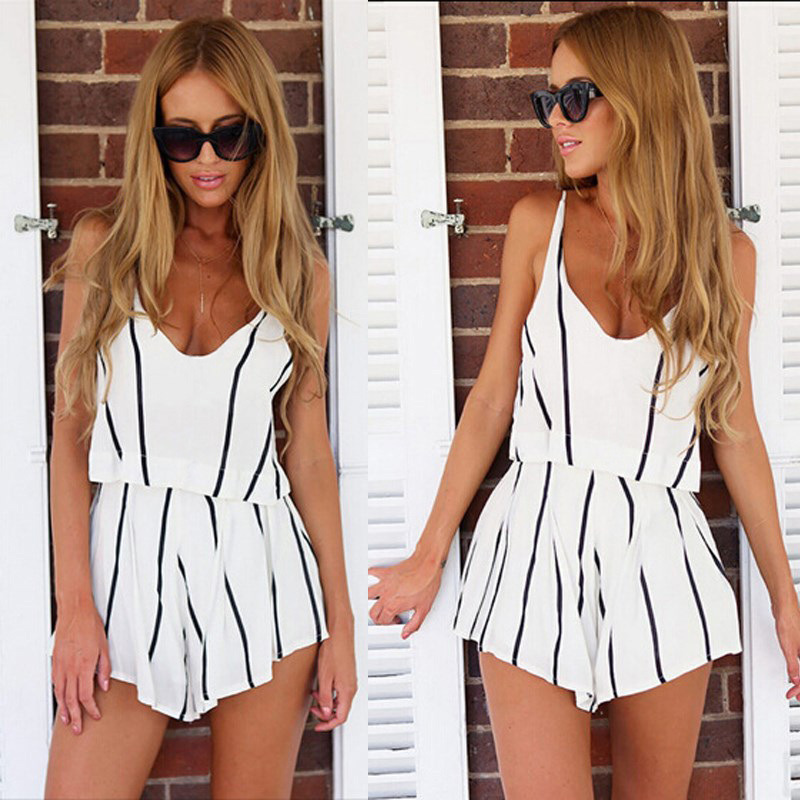 Casual  Women 2Pcs Solid Color Summer Black White Stripe Suits 2 Pcs V-Neck Pullover Sleeveless Elastic Waist Office Lady