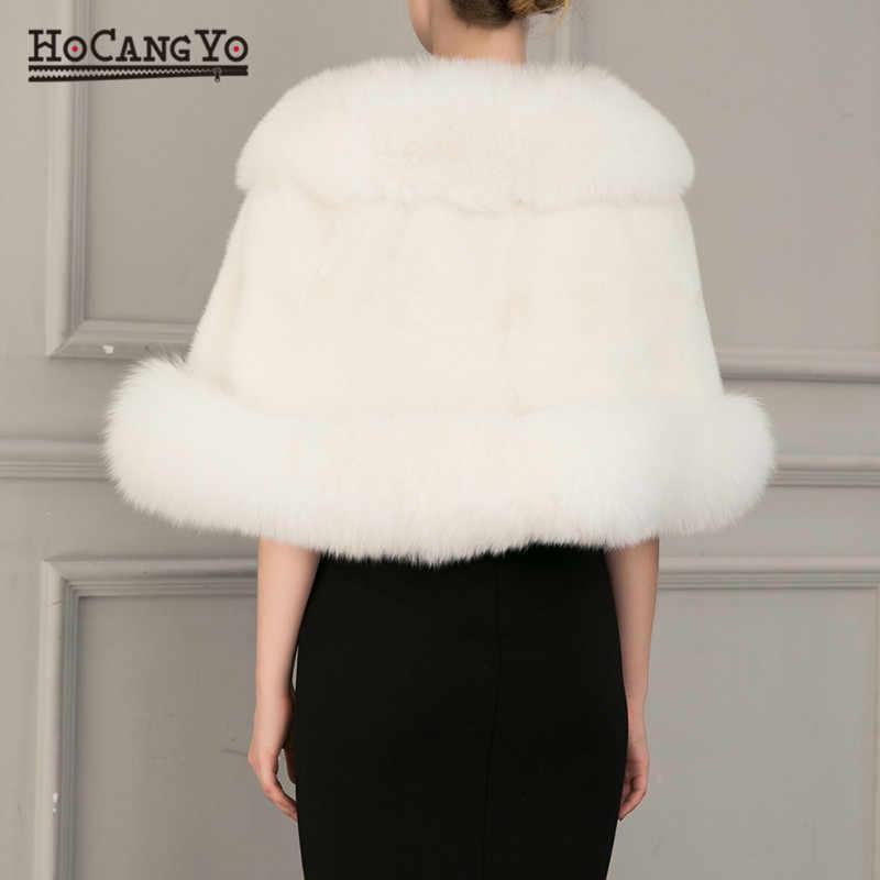 HCYO kadın pelerin palto sonbahar kış ücretsiz boyutu Faux kürk panço şal bayan kolsuz yelek palto kadınlar kış şal kalın pelerinler