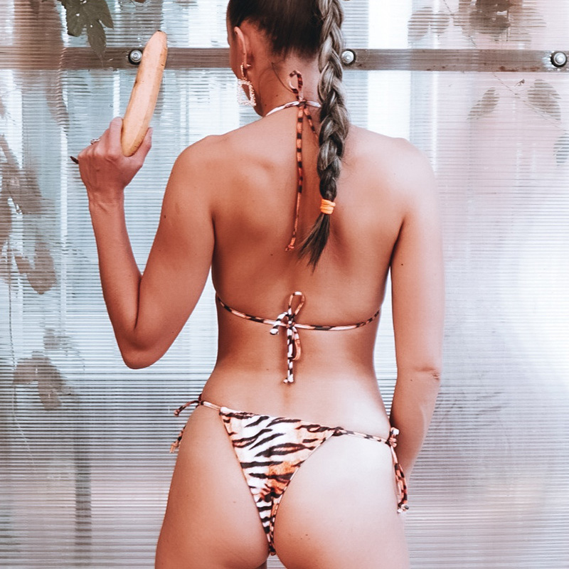 INGAGA Tiger Print Swimsuit Sexy Thong Bikini 2019 Mujer New Halter Swimwear Women Push Up Bathing Suit Women Tie waist Biquini in Bikinis Set from Sports Entertainment