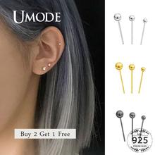 UMODE Buy 2 Get 1 Free Small Black Ball Stud Earrings Real Pure 925 Sterling Silver Earring Lady Girl Bead Jewelry Body ULE0487