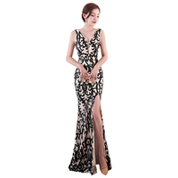 Luxury Evening Dress Long Mermaid Gold Sequined Lace Evening Gown Elegant V Neck High Split Prom Party Dresses Robe De Soiree
