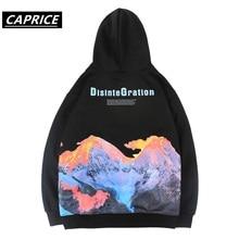 2019 Hip Hop Hoodie Sweatshirt Colorful Volcano Men Streetwea Harajuku Winter Fleece Pullover Loose Cotton Autumn