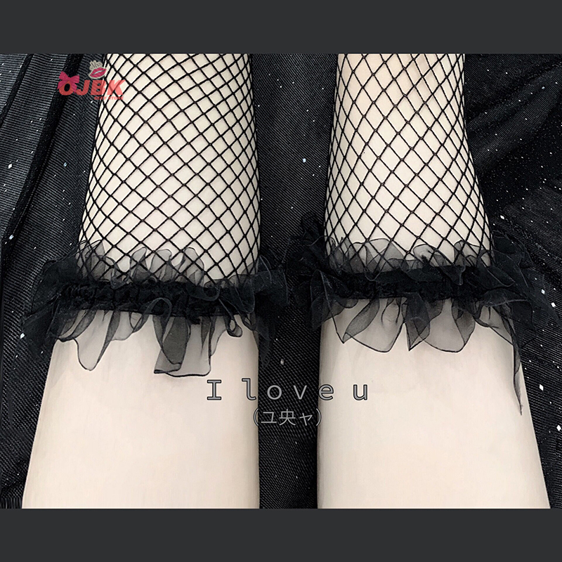 OJBK Over Knee Black White Pink Sexy Suspender High Tube Silk Stocking Cute Transparent Lingerie KawaiiNet Stocking Pure Lovely