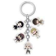 5 Pcs/Set Japanese Anime Bungou Stray Dogs Acrylic Keychain Pendant Cartoon Figure Key Holder Anime Around