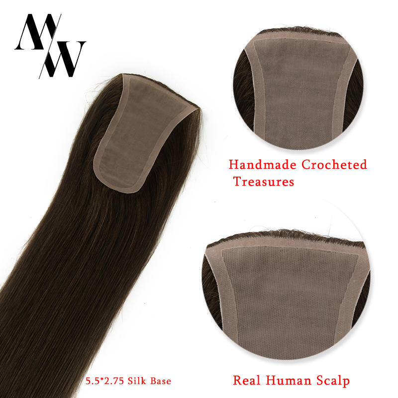 MW 150% Density Silk Base Hair Topper Wigs Remy Human Hair Straight 14 Inches 5.5*2.75