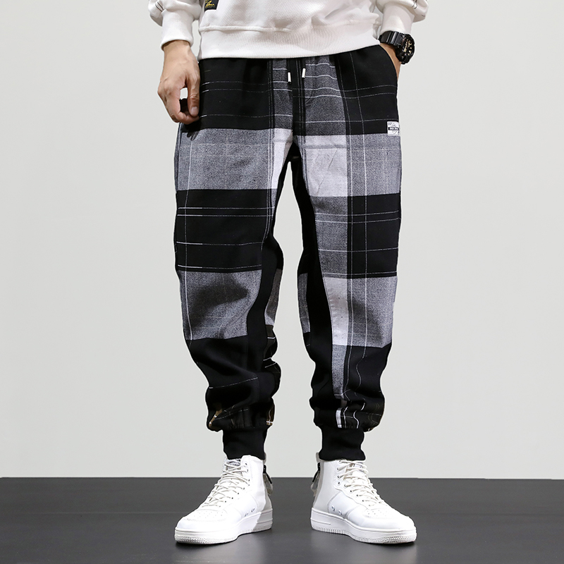Autumn Fashion Men Jeans Loose Fit Plaid Designer Harem Pants Casual Trousers Streetwear Slack Bottom Hip Hop Joggers Pants Men