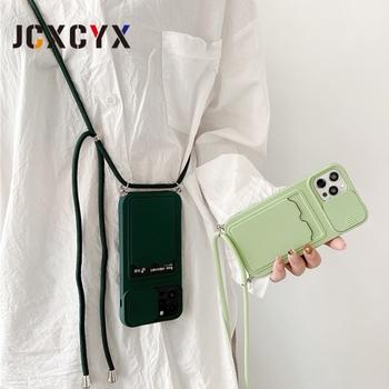 Obiektyw aparatu portfel karty Crossbody naszyjnik smycz miękki futerał na telefon dla iphone 12 Pro Max 11 Pro MiNi X XR XS 7 8 plus okładka tanie i dobre opinie APPLE CN (pochodzenie) Częściowo przysłonięte etui Zwykły Ultra thin shockproof silicone Protective case For iPhone 12 Pro Max 12 MiNi 11 Pro X XR XS Max