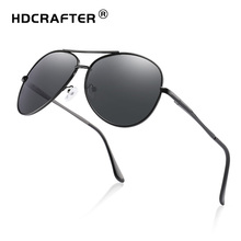 HDCRAFTER pilot sunglasses men polarized uv400 high quality retro vintage driving for male