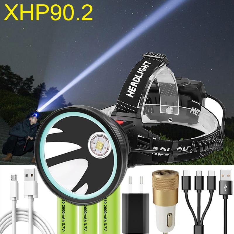 XHP90.2 LED Headlamp Powerful 8000LM Head Light Lamp Torch Lantern 32W Power Bank Fishing Light Use 3x18650 Rechageable Battery