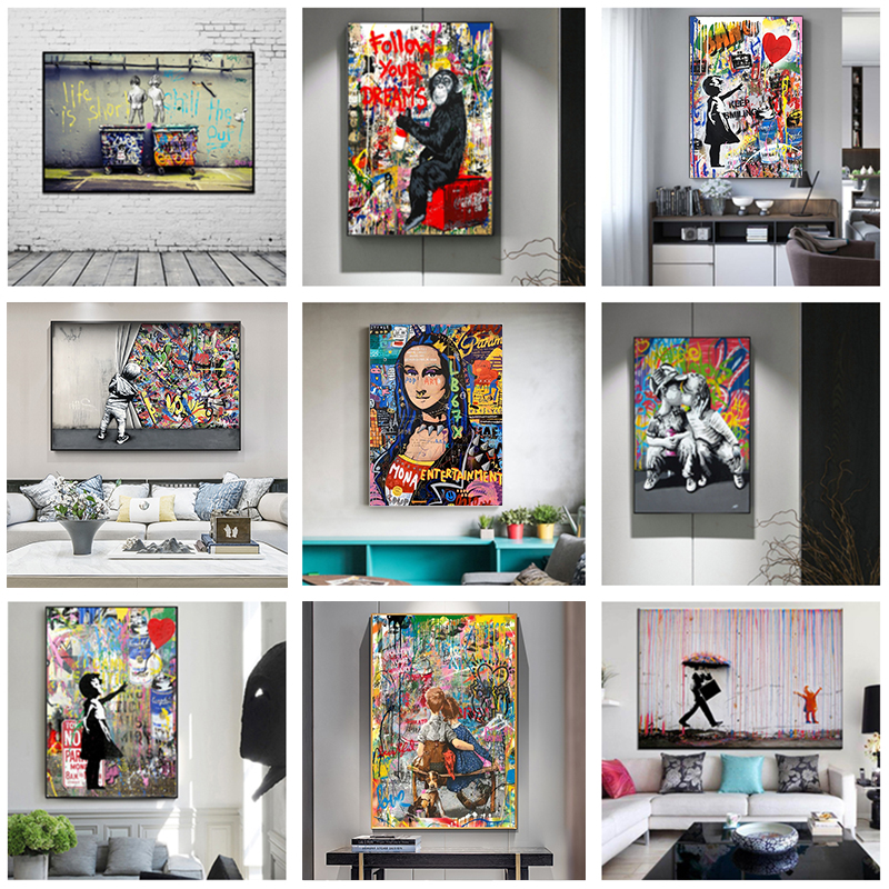 Banksy Artwork Graffiti Art Canvas Paintings Pop Street Art Graffiti Monkey Posters and Prints Wall Pictures for Home Decor