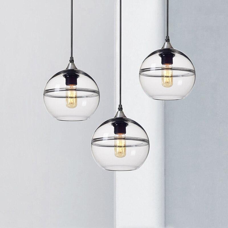 Unique led rond pendentif lumière nouveau modèle clair bleu boule de verre suspension lampe pour cuisine café magasin escalier