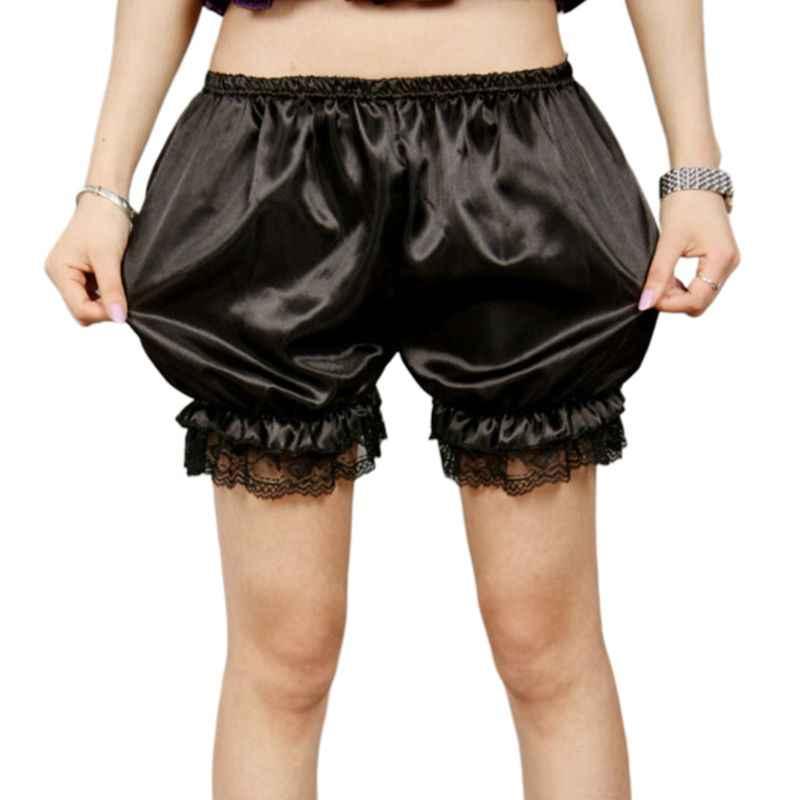 ผู้หญิงเลียนแบบผ้าไหม Bloomers Ruffles ลูกไม้ Trim กางเกง Victorian กางเกงขาสั้นฟักทองเต้นรำสีทึบชุดกระโปรงแยกชุด Pettipants