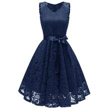 Women's V-Neck Lace Sleeveless A-Line Dress lace insert sleeveless a line dress