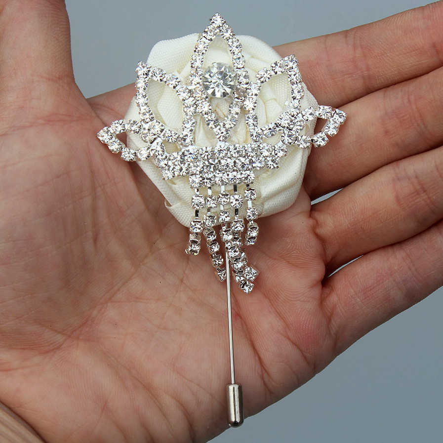 Satin Flower and Leaves Ivory and Silver Brooch Boutonniere Pearl Brooch Boutonniere