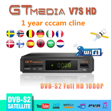 Original 1year Europe cccam server +GTMEDIA V7S HD Satellite Receiver DVB-S2 Support PowerVu DRE USB wifi to Network Sharing v7s