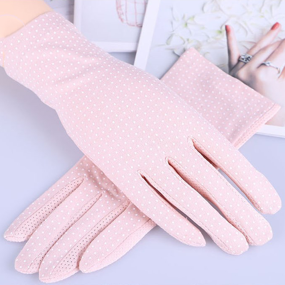 Summer Lace Anti-slip Sunscreen Gloves Driving Thin Women Touch Screen Windproof Mittens Glove Dot Lady Girl Wrist Practical