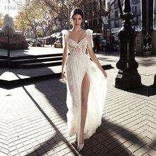 نمط جديد صور حقيقية فستان الزفاف السباغيتي ربطة القوس فيونكة حزام ألف خط تول رائعة الدانتيل رومانسية تصميم فريد انقسام الساق