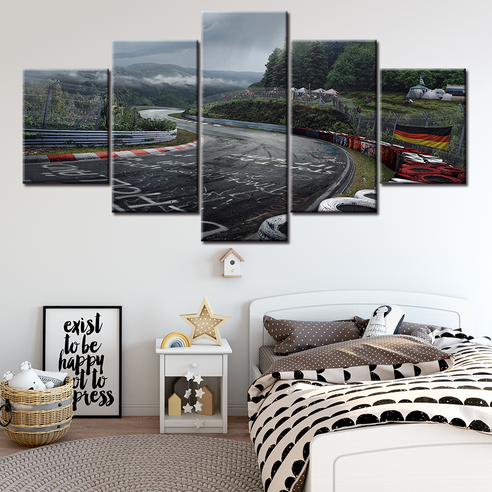 Canvas Printed Pictures Wall Art Painting 5 Panel Nurburgring Rally Road Home Decoration Module Poster For Living Room NL009