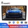 Podofo 9 ''Android 8.1 araba radyo GPS araba multimedya oynatıcı Bluetooth WIFI 2 Din ses Stereo VW Nissan hyundai Toyota Kia