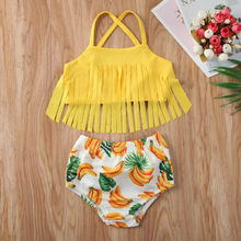 CANIS Kids Baby Girl Swimwear Bikini Suit Tassel Tops Banana