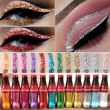 Cmaadu 12 Colors Diamond Glitter Liquid Eyeshadow Tint Colorful Shimmer Eye Shadow Bottle Makeup Metallic High Shine Eyeshadow