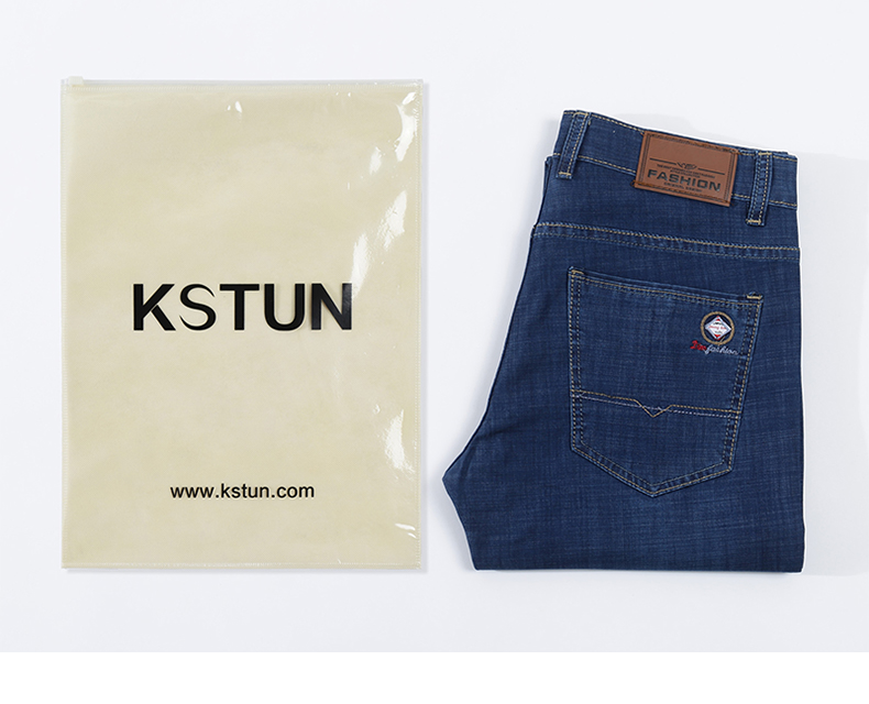 KSTUN Jeans Men Blue Classic Straight Stretch Business Casual Ultrathin Soft Breathabel Men's
