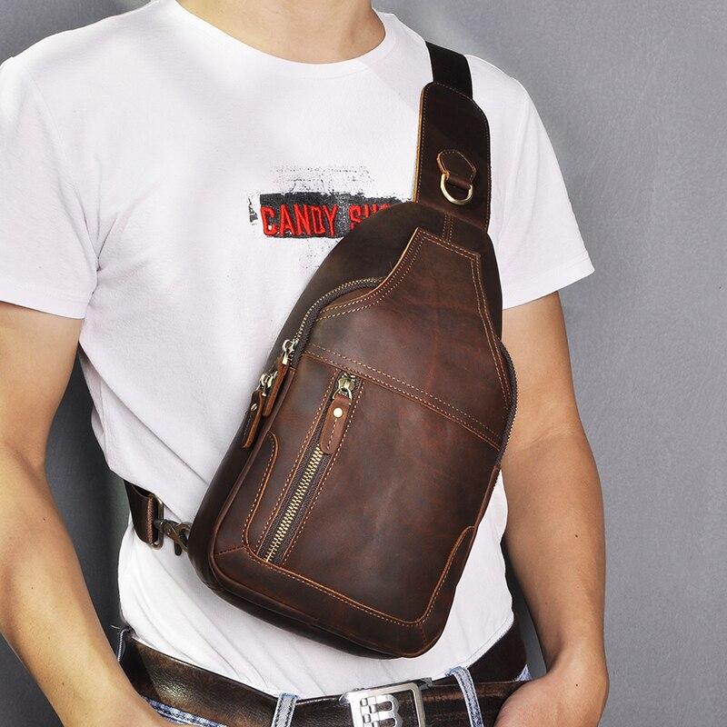 Top Quality Men Genuine Real Leather Vintage Fanny One Shoulder Chest Pack Design Sling Crossbody Bag Daypack 6601-d