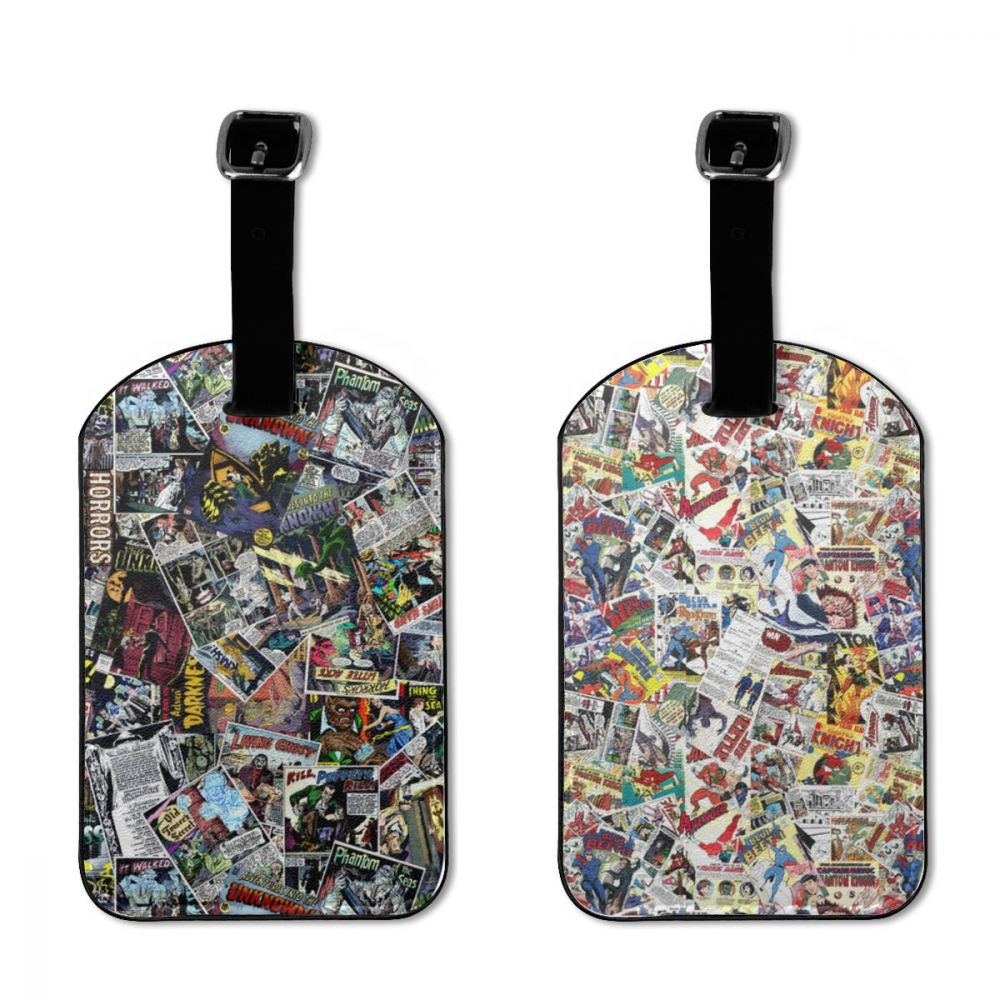 NOISYDESIGNS Custom Vintage Comic Book Heroes Print Leather Suitcase Luggage Tag Label Bag Pendant Handbag Travel Accessories
