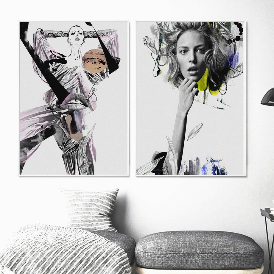 Wall Art Print Canvas Painting Flower Black White Abstract Girl Nordic Canvas Posters And Prints Wall Pictures For Living Room in Painting Calligraphy from Home Garden