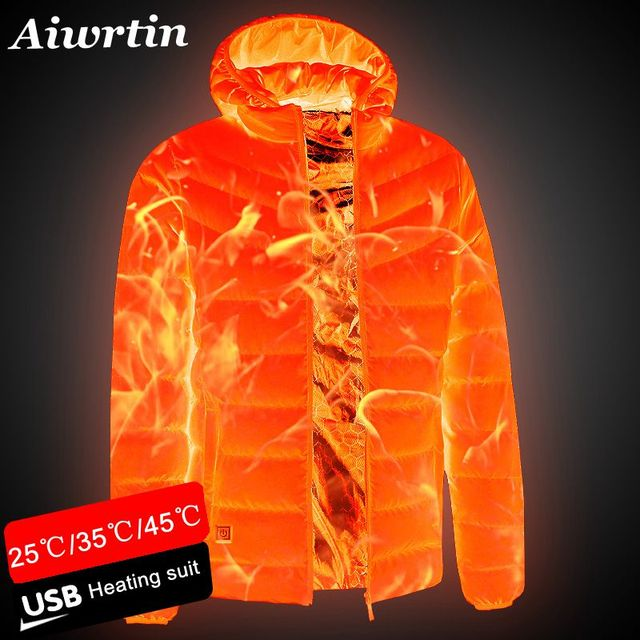 2020 NEW Men Heated Jackets Outdoor Coat USB Electric Battery Long Sleeves Heating Hooded Jackets Warm Winter Thermal Clothing