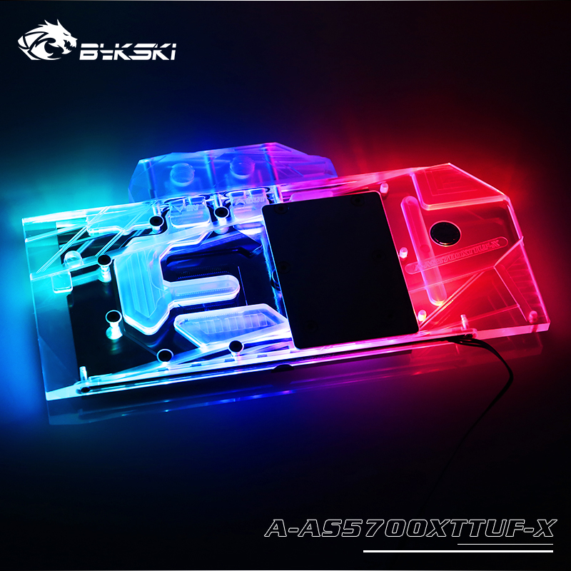 BYKSKI Water Block Use For ASUS TUF3 RX5700XT O8G Gaming Support A-RGB/RGB LED Light Radiator Block Copper + Arylic