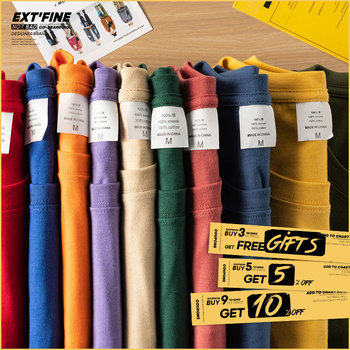 Extfine 100% Combed Cotton Short Sleeve T-shirt Men 2021 Summer Casual Tshirt Women Basic Harajuku Soft T Shirt Tops Tee 1