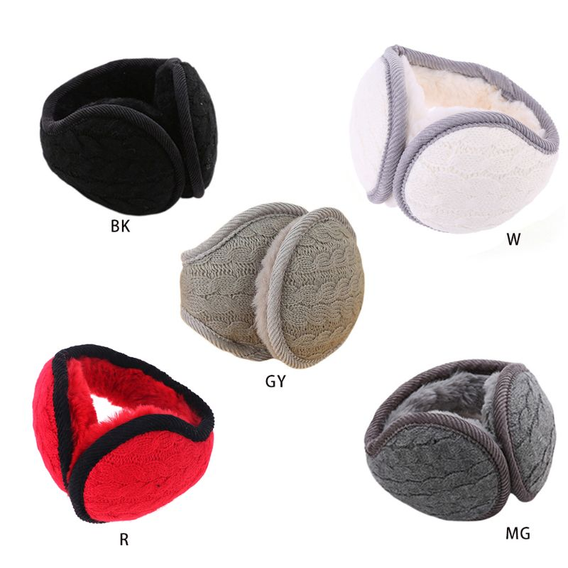 Women Men Wavy Stripes Knitted Winter Foldable Earmuffs Thicken Plush Ear Warmer