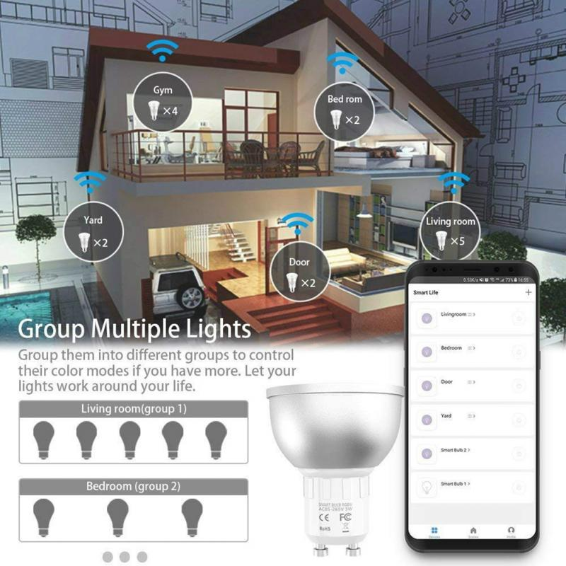 5W WiFi Smart Light Bulb GU10 LED RGBW LampWork With Alexa/Google Home RGB+ Dimmable Function Magic Bulb Party