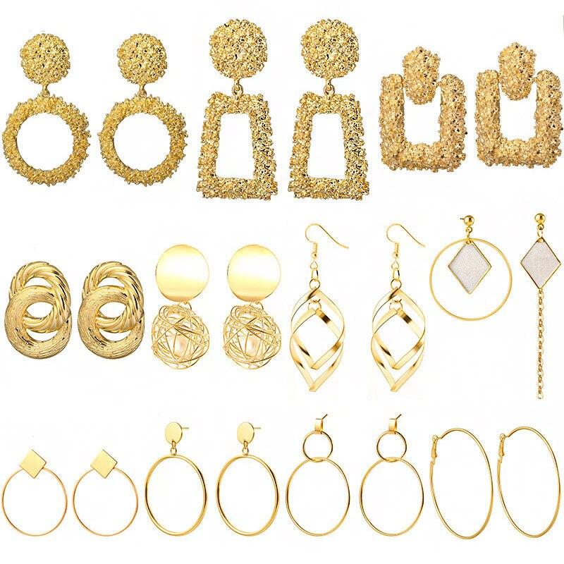 POXAM Bohemain Big Geometric Golden Earrings for Women 2019 Fashion Metal Statement Hanging Dangle Drop Za