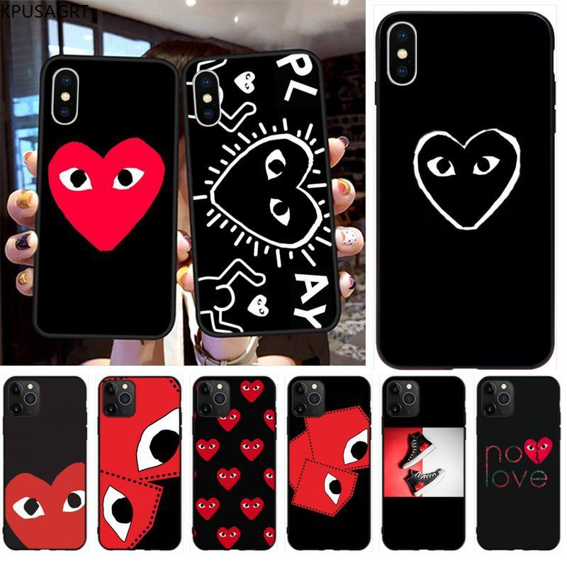 Fashion Cute CDG PLAY Phone Case for iphone 12 pro max 11 pro XS MAX 8 7 6 6S Plus X 5S SE 2020 XR case