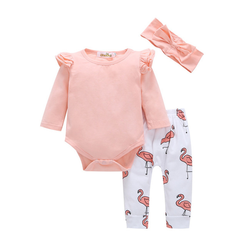 Toddler Baby Girl Romper Tops Long Pants Flamingo 3PCS Clothes Set Outfits