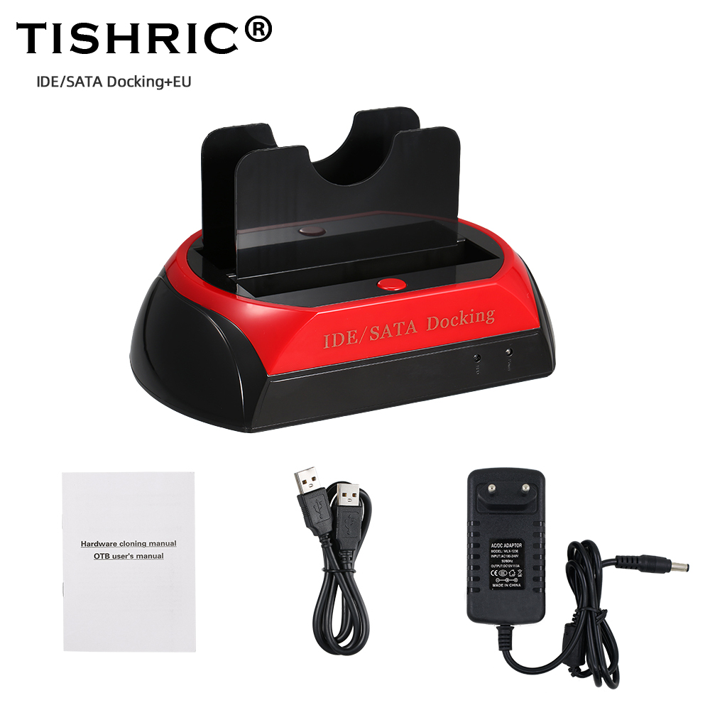 TISHRIC External HDD Docking Station Universal IDE/SATA 2.5'' 3.5'' Hard Drive Case SSD Optibay HDD Box USB 2.0 HDD Caddy image