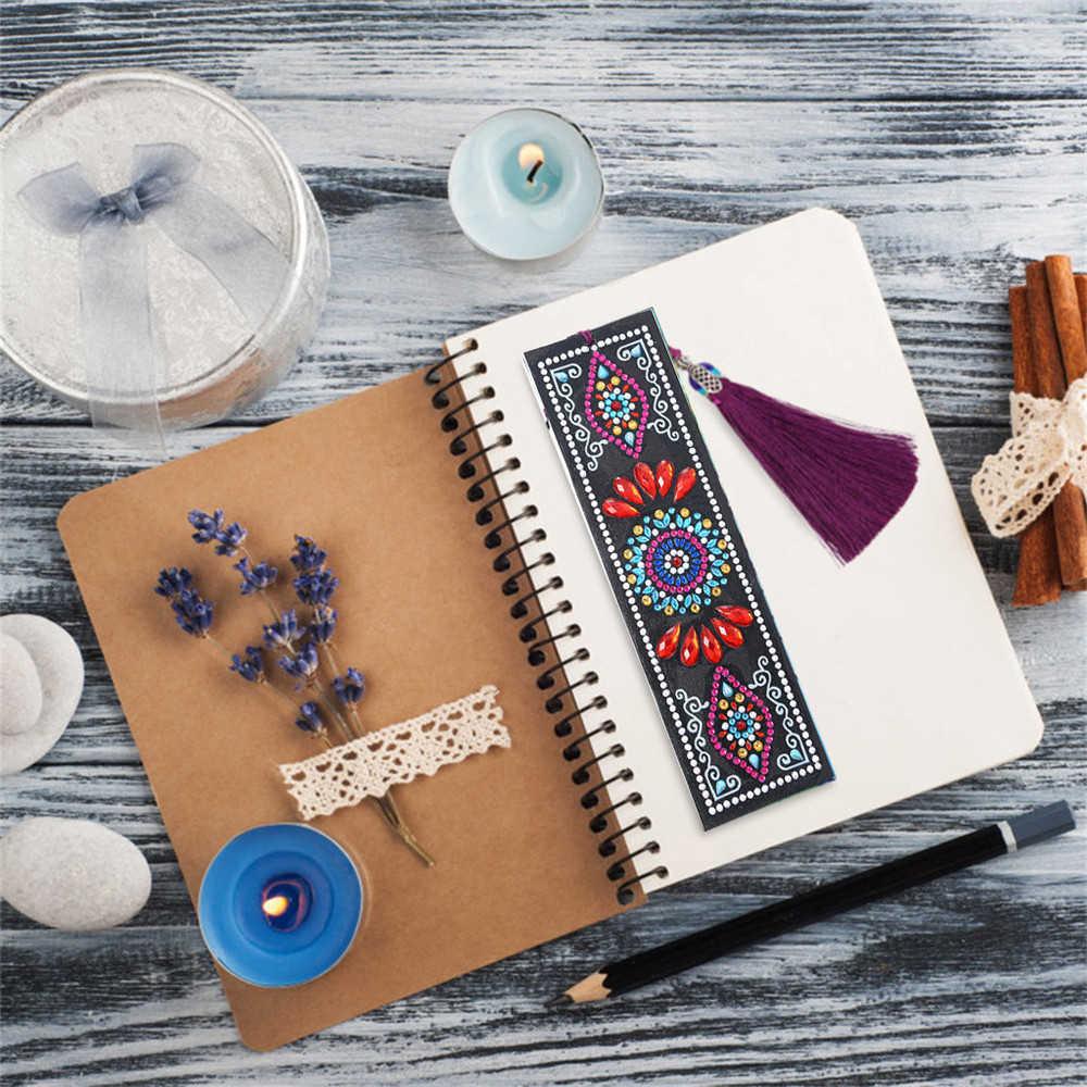 HUACAN מיוחד בצורת יהלום ציור עור סימנייה יהלומי רקמת מלאכת ציצית ספר סימני לספרים חג המולד מתנות