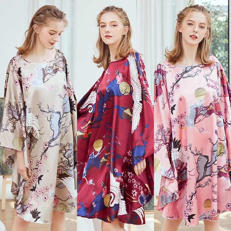 Yao Ting New Style Silk Pajamas Women's Summer Bat Sleeve Nightgown Women's Summer Large Size Tracksuit 7795