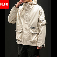 5XL Black Bomber Jacket Casual For Men College Japanese Hip Hop Hooded Jackets Autumn Men's Army Military Streetwear Cargo Coats(China)