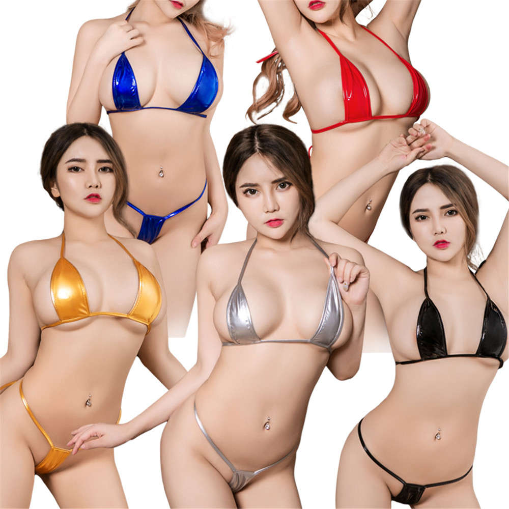 sexy micro bikini 2019 Patent leather Pure color Bandage Adjustable Super small sexi bikinis set swimwear women swimsuit biquini-5