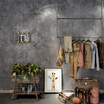 Retro Nostalgic Cement Gray Wallpaper Plain Color LOFT Industrial-Style Clothing Store Tea Shop Bar Restaurant Wallpaper
