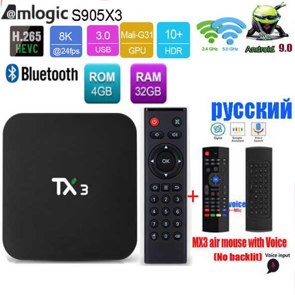 Tanix caixa de tv amlogic, tx3 s905x3, android 9.0, h.265, 8k, hdr, 2.4g/5ghz, wifi duplo, bt conjunto de mídias smart boxes 4.2