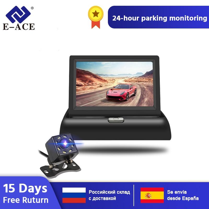 Otomobiller ve Motosikletler'ten Araba Monitörleri'de E ACE J02 4.3 inç TFT LCD araç monitör katlanabilir ekran ters kamera park sistemi araba dikiz monitör NTSC PAL title=