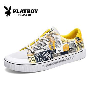 PLAYBOY New High Quality Canvas Autumn Sneakers for Men Non Slip Skateboarding Shoes Men Lace Up Male Sports Shoes Designer Flat