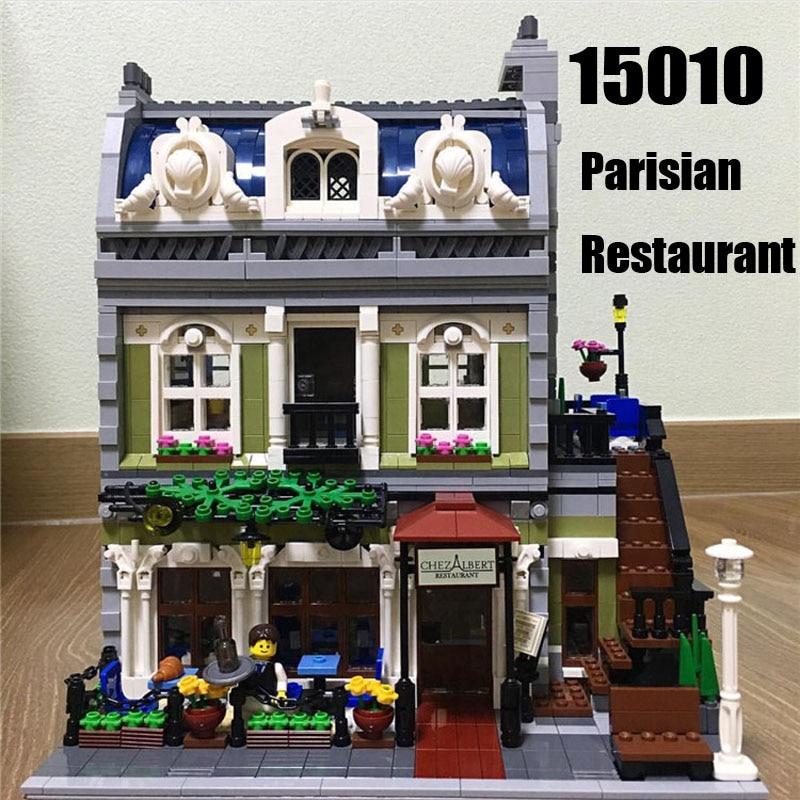 Oyuncaklar ve Hobi Ürünleri'ten Bloklar'de Creator uzman şehir sokak görünümü 2418 adet parisli restoran setleri modeli yapı taşları tuğla kitleri oyuncaklar çocuk hediyeler için'da  Grup 1