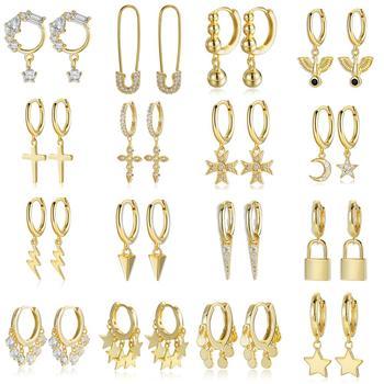 2020 New Design 100% Real 925 Sterling Silver Earrings for Women Star Cross wing CZ Drop Earrings Huggies Charm Jewelry 16 style