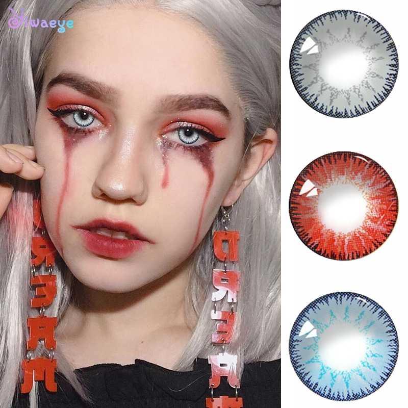 Krótkowzroczność oczy piękne uczeń kolorowe szkła kontaktowe stopień proszku 0-800 dla Cosplay Halloween kosmetyczne makijaż rok rzut
